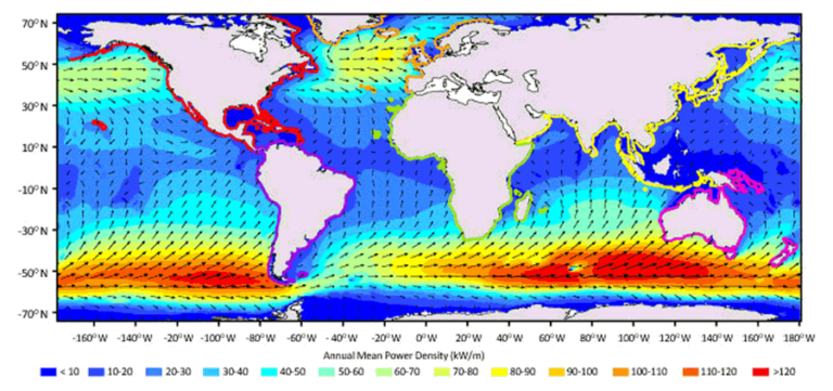 Figure 1: Global wave energy potential, expressed as kW per unit length of wave crest.
